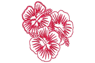 Outline Hibiscus Bunch Outline Flowers Embroidery Design By designsbymira
