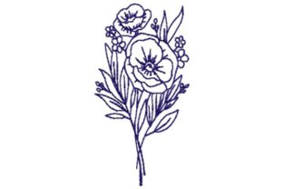 Pansy Outline Outline Flowers Embroidery Design By designsbymira