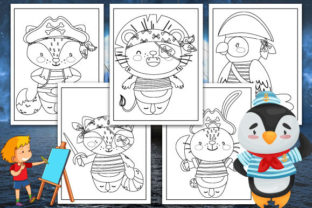 Print on Demand: Pirates Animals Coloring Pages Graphic KDP Interiors By TrendColors