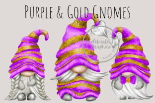 Purple & Gold Glitter Gnome Png Clipart Graphic Illustrations By Celebrately Graphics