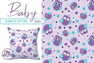 Print on Demand: Purple Teal Owl Baby Seamless Pattern Graphic Illustrations By clipArtem