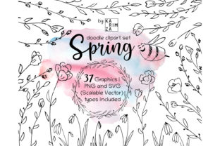 Spring Doodle Svg Bundle Graphic Objects By KARIMZA watercolor