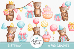 Print on Demand: Teddy Bear Birthday Party Clipart Graphic Illustrations By Chonnieartwork