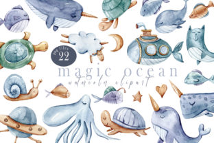 Print on Demand: Watercolor Nautical Nursery Clipart Grafik Druck-Templates von Tiana Geo