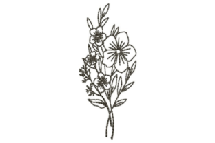 Wildflower Bunch Outline Flowers Embroidery Design By designsbymira