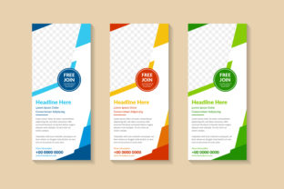 Print on Demand: Orange Green Blue Vertical Banner Polygo Graphic Product Mockups By noory.shopper