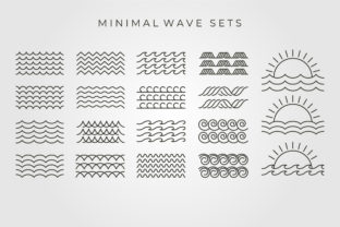 Set Bundled Wave Symbol Vector Design Graphic Objects By lawoel