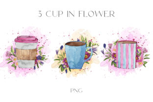 3 Cup Watercolor  in Spring Flowers Png Graphic Illustrations By Julia Bogdan