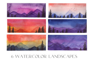 6 Watercolor Night Landscape Banners Graphic Illustrations By Julia Bogdan