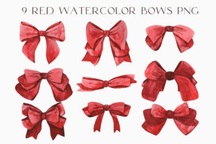 9 Red Watercolor Bows PNG Graphic Illustrations By Julia Bogdan