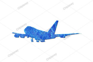 Print on Demand: Airplane Pilot Plane Glitters Blue Waves Graphic Illustrations By Chiplanay