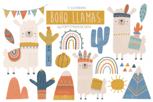 Print on Demand: Boho Llama Clipart Set Graphic Illustrations By poppymoondesign