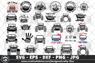 Print on Demand: Bundle of 30 Jeep SVG Jeep Life SVG Jeep Graphic Crafts By Crafty Files