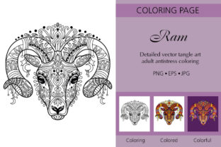 Coloring for Adult Tangled Head of Ram Graphic Coloring Pages & Books Adults By Alinart 1