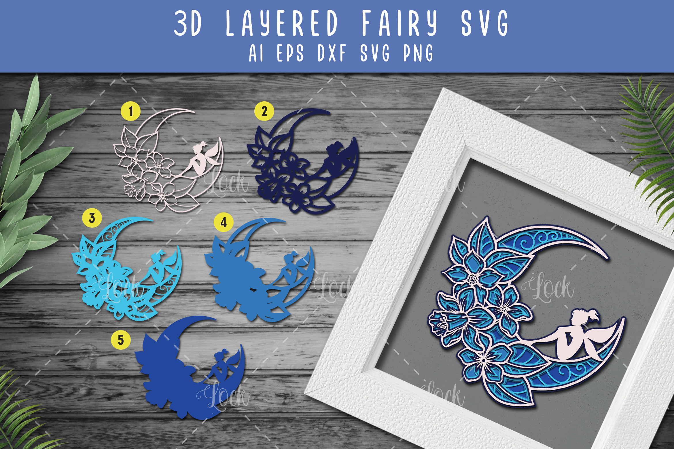 Crescent Moon and Fairy SVG 3d Layered SVG File