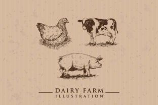 Dairy Farm Vector Illustration Set's Graphic Graphic Templates By naemislamcmt