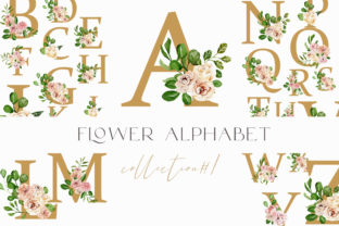 Festive Alphabet in Flowers Png 26 Files Graphic Illustrations By Julia Bogdan