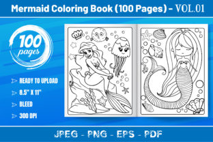 Mermaid Coloring Book VOL.01 (100 Pages) Graphic KDP Interiors By KDP Mastery