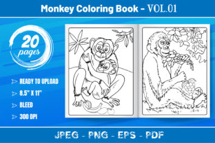 Monkey Coloring Book VOL.01-KDP Interior Graphic Coloring Pages & Books Kids By KDP Mastery