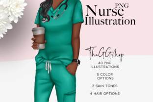 Print on Demand: Nurse Fashion Illustration Clipart Set Graphic Illustrations By TheGGShop
