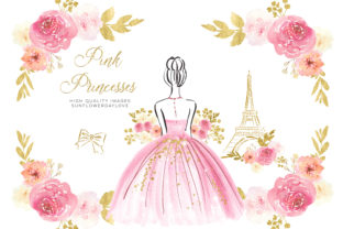 Print on Demand: Pink Gold Princess Watercolor Clipart Graphic Illustrations By SunflowerLove