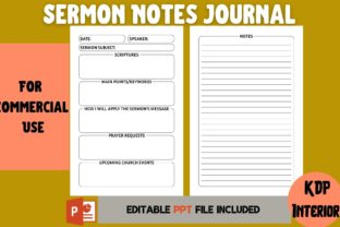 Print on Demand: Sermon Notes Journal | KDP Interior Graphic KDP Interiors By Cool Worker
