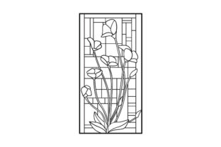 Stained Glass Floral Window Outline Designs & Drawings Craft Cut File By Creative Fabrica Crafts