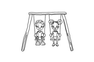 Doodle Style Children Playing on a Swing Set Children Craft Cut File By Creative Fabrica Crafts