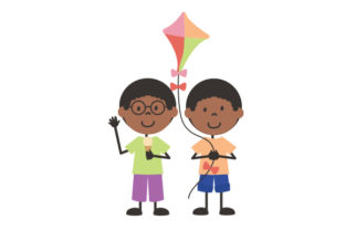 Doodle-style Children Playing with a Kite Children Craft Cut File By Creative Fabrica Crafts