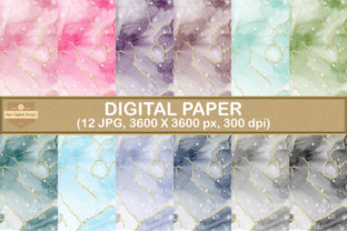 Print on Demand: Alcohol Ink, Gold Glitter Digital Papers Graphic Backgrounds By SineDigitalDesign