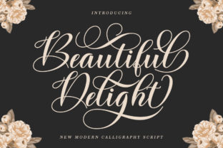 Print on Demand: Beautiful Delight Manuscrita Fuente Por IRF Lab Studio