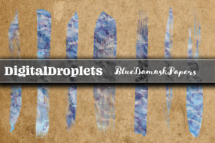 Blue Damask | 400 Brush Strokes Graphic Objects By FlyingMonkies