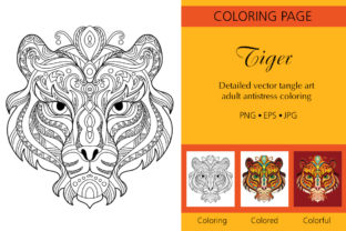 Coloring for Adult Tangled Head of Tiger Graphic Coloring Pages & Books Adults By Alinart