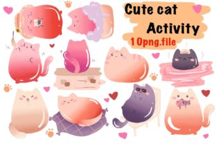 Cute Cat Activity Graphic Illustrations By aunny2544
