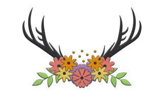 Deer Antlers with Cute Flowers Animals Embroidery Design By Wilansa