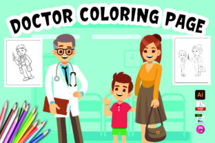 Doctor Coloring Page for Kids V1 Graphic Coloring Pages & Books By Moonz Coloring