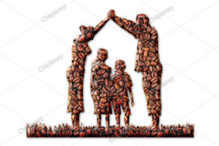 Print on Demand: Family Children Protection Coffee Beans Graphic Illustrations By Chiplanay