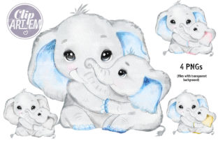 Print on Demand: Father's Day Elephant  Daddy Baby Bundle Graphic Illustrations By clipArtem