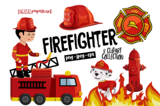 Print on Demand: Firefighter Clipart Set Graphic Illustrations By DigitalPapers