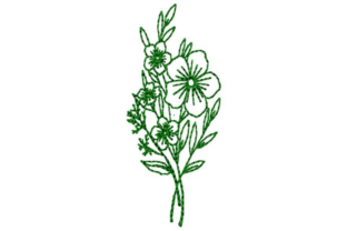 Flower Bunch Outline Outline Flowers Embroidery Design By designsbymira