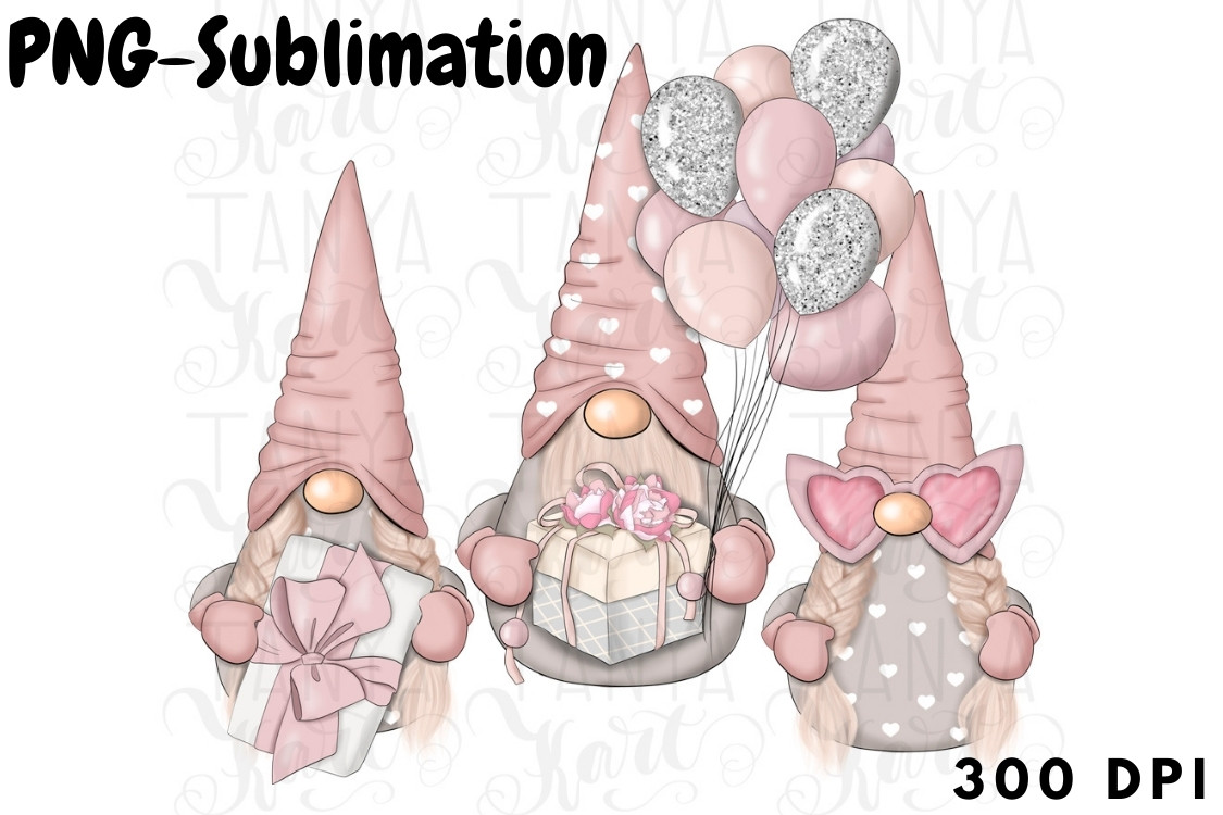 Gnome for Valentines Day Png Sublimation SVG File