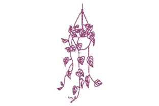 Hanging Plant Outline Outline Flowers Embroidery Design By designsbymira