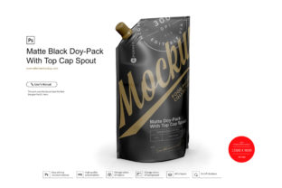 Matte Black Doy-Pack with Top Cap Spout Graphic Product Mockups By RG