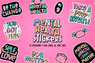 Print on Demand: Mental Health Stickers | 11 Stickers Graphic Crafts By Pixtordesigns