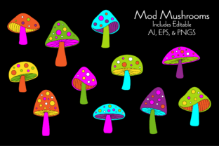 Mod Mushrooms with Seamless Pattern Graphic Illustrations By Melissa Held Designs