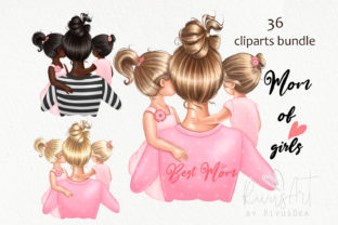 Mother's Day Clipart. Mother Daughter Graphic Illustrations By rivusdea
