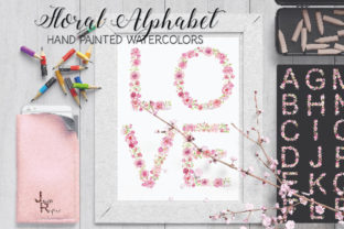 Pink Floral Alphabet in Watercolor Graphic Objects By Lolly's Lane Shoppe