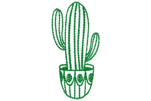 Potted Cactus Outline Outline Flowers Embroidery Design By designsbymira