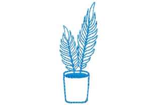 Potted Fern Outline Outline Flowers Embroidery Design By designsbymira