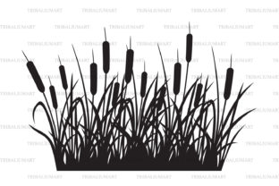 Reeds Silhouette Design Graphic Illustrations By TribaliumArt